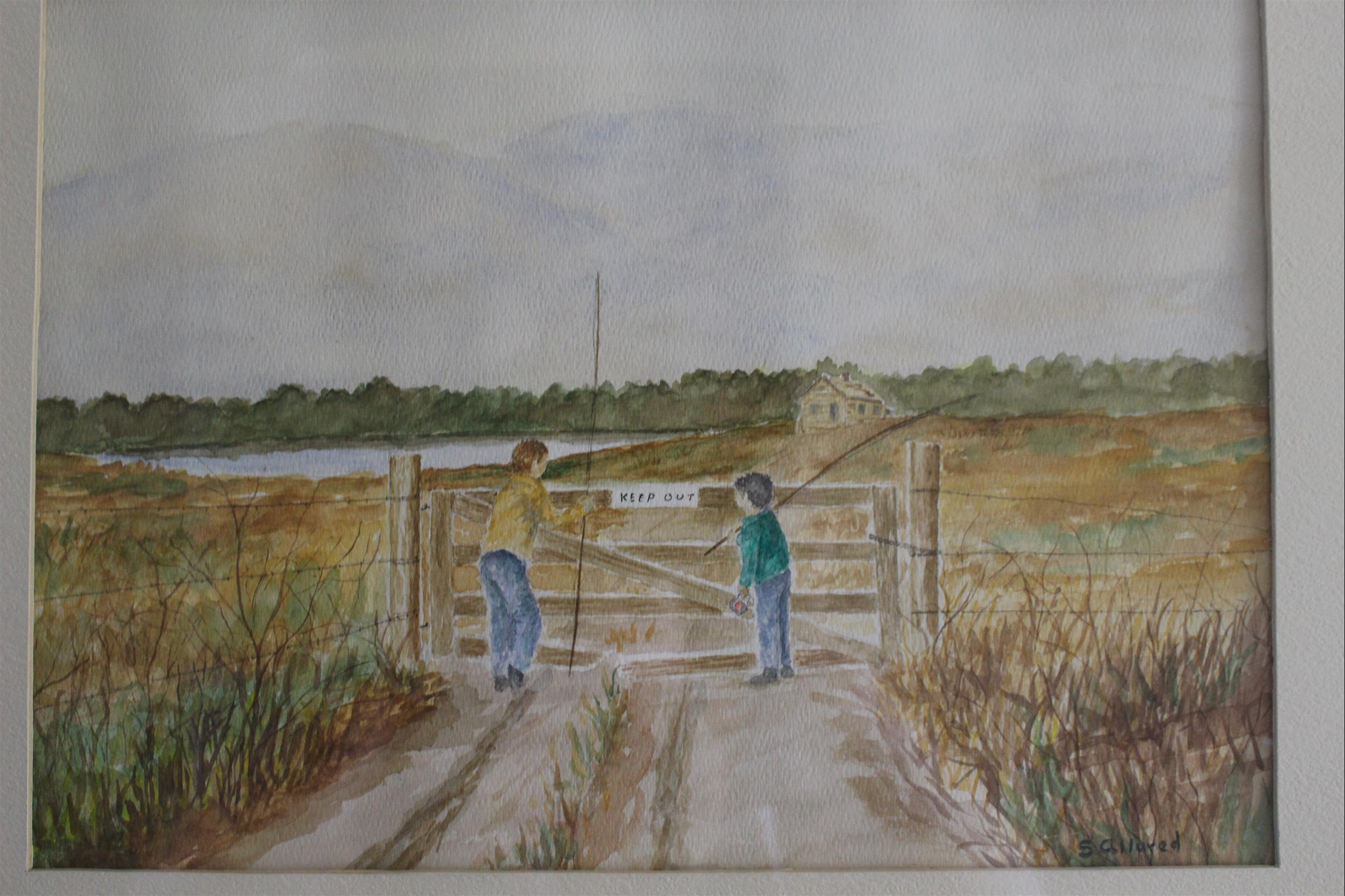 artwork painting of father son fishing